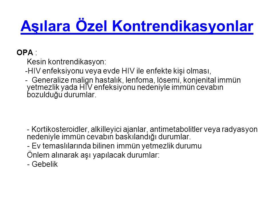 Aşılara Özel Kontrendikasyonlar