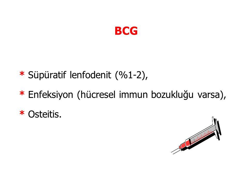 BCG * Süpüratif lenfodenit (%1-2),