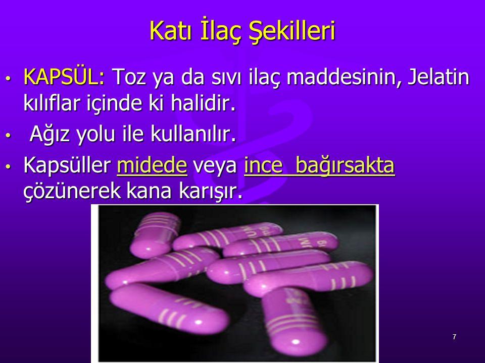 Katı İlaç Şekilleri KAPSÜL: Toz ya da sıvı ilaç maddesinin, Jelatin kılıflar içinde ki halidir. Ağız yolu ile kullanılır.