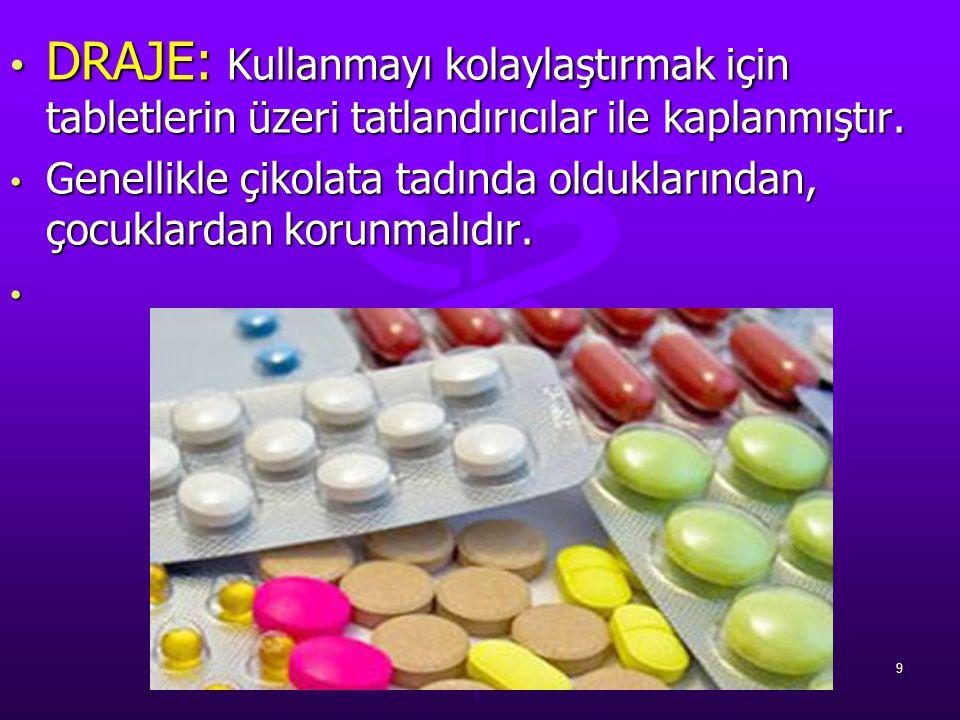 DRAJE: Kullanmayı kolaylaştırmak için tabletlerin üzeri tatlandırıcılar ile kaplanmıştır.