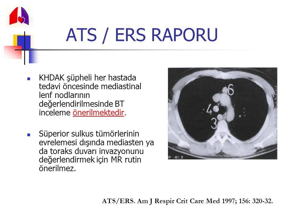 ATS / ERS RAPORU KHDAK şüpheli her hastada tedavi öncesinde mediastinal lenf nodlarının değerlendirilmesinde BT inceleme önerilmektedir.