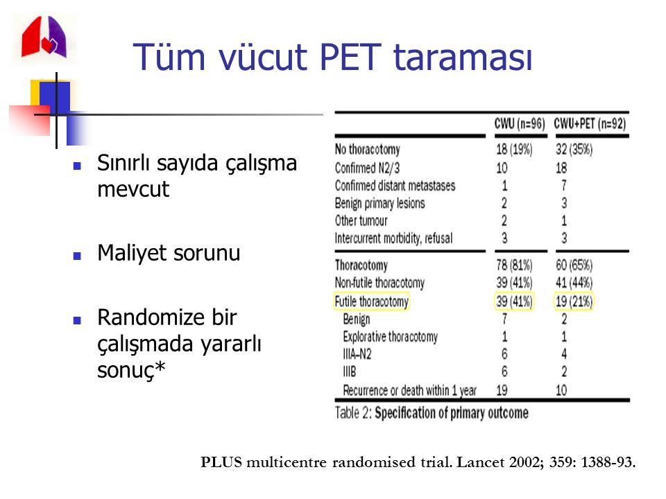 Tüm vücut PET taraması Sınırlı sayıda çalışma mevcut Maliyet sorunu