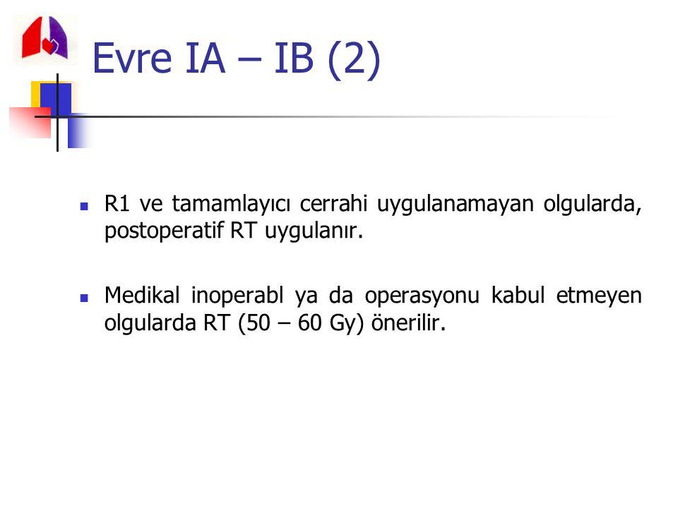 Evre IA – IB (2) R1 ve tamamlayıcı cerrahi uygulanamayan olgularda, postoperatif RT uygulanır.