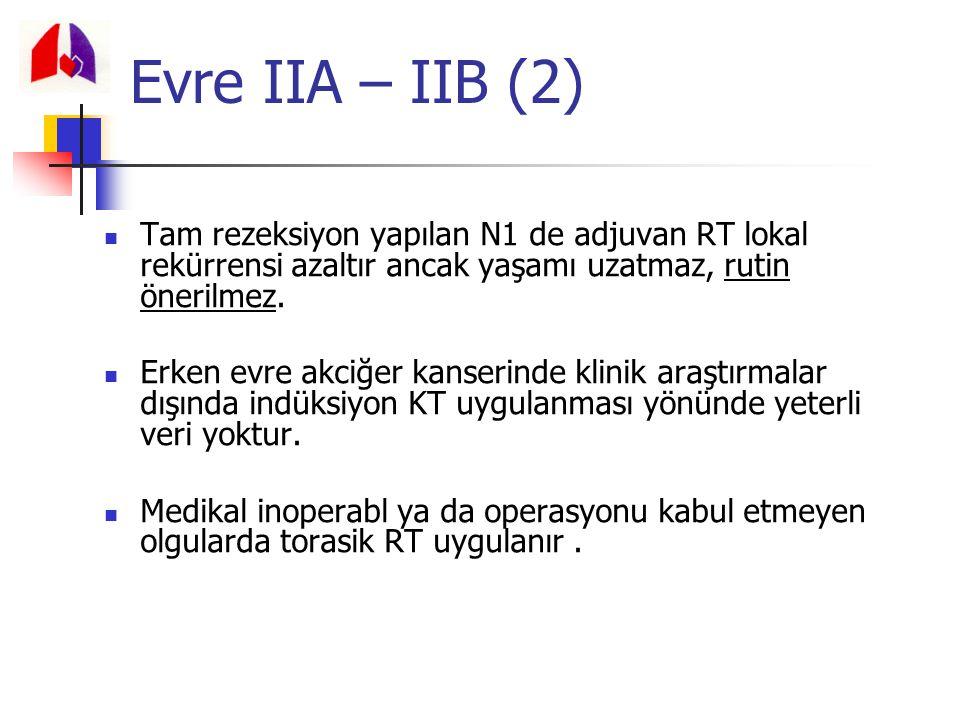 Evre IIA – IIB (2) Tam rezeksiyon yapılan N1 de adjuvan RT lokal rekürrensi azaltır ancak yaşamı uzatmaz, rutin önerilmez.