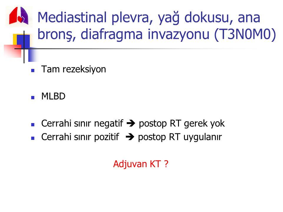 Mediastinal plevra, yağ dokusu, ana bronş, diafragma invazyonu (T3N0M0)