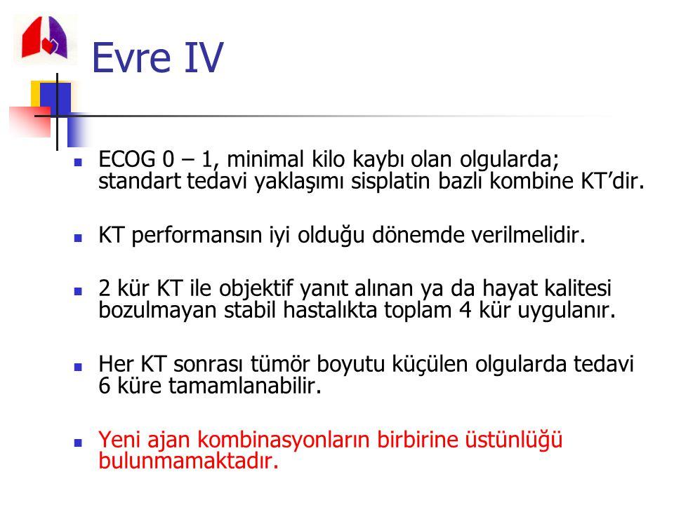 Evre IV ECOG 0 – 1, minimal kilo kaybı olan olgularda; standart tedavi yaklaşımı sisplatin bazlı kombine KT'dir.
