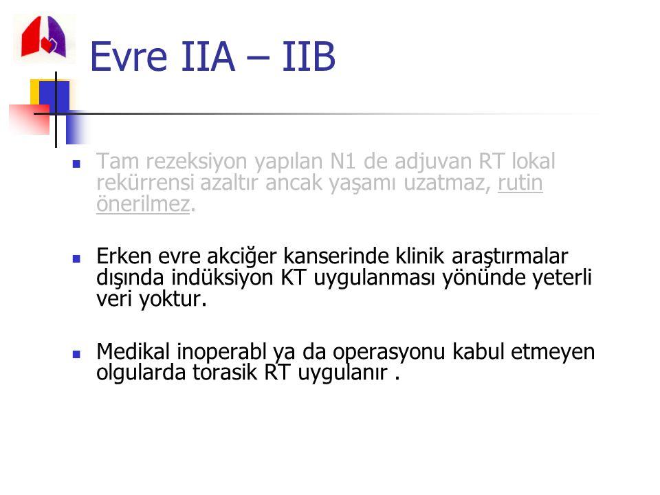 Evre IIA – IIB Tam rezeksiyon yapılan N1 de adjuvan RT lokal rekürrensi azaltır ancak yaşamı uzatmaz, rutin önerilmez.