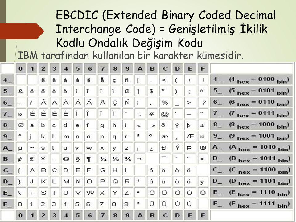 EBCDIC (Extended Binary Coded Decimal Interchange Code) = Genişletilmiş İkilik Kodlu Ondalık Değişim Kodu