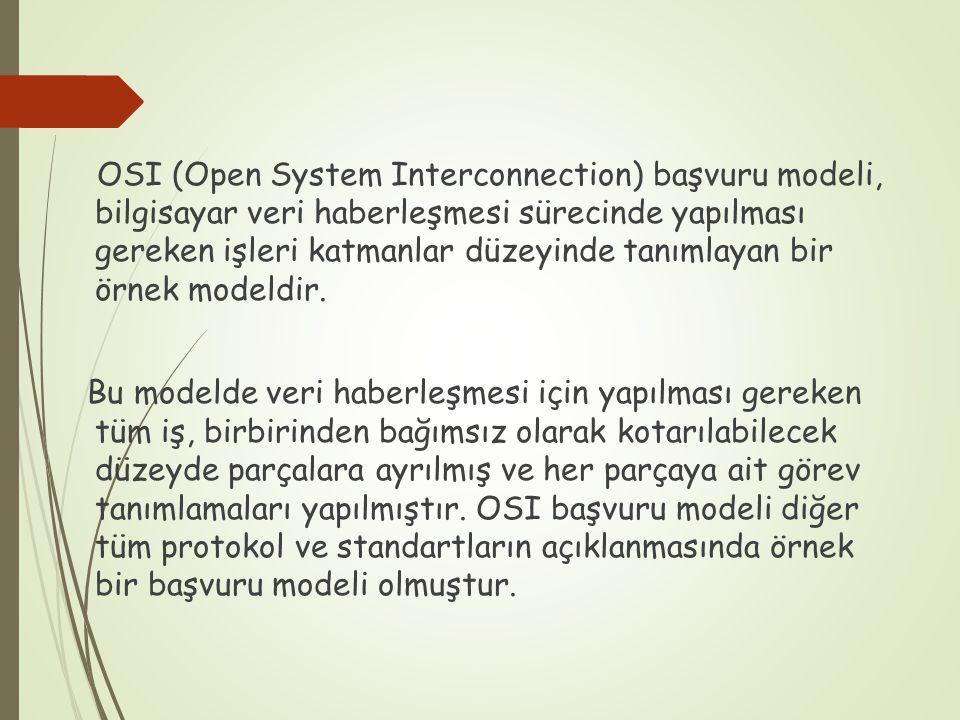 OSI (Open System Interconnection) başvuru modeli, bilgisayar veri haberleşmesi sürecinde yapılması gereken işleri katmanlar düzeyinde tanımlayan bir örnek modeldir.