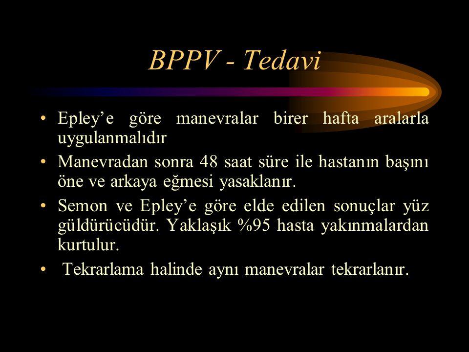 BPPV - Tedavi Epley'e göre manevralar birer hafta aralarla uygulanmalıdır.