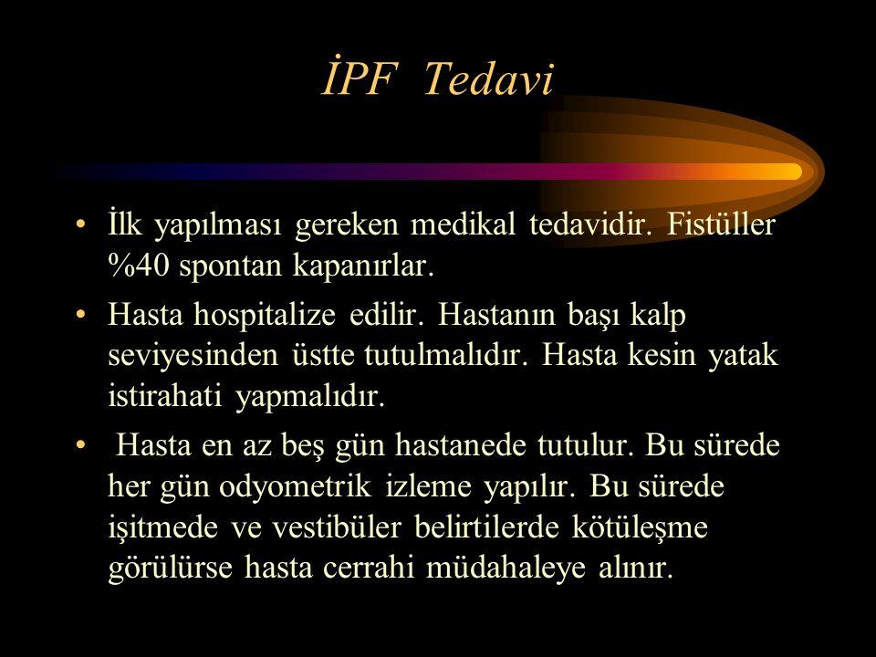 İPF Tedavi İlk yapılması gereken medikal tedavidir. Fistüller %40 spontan kapanırlar.