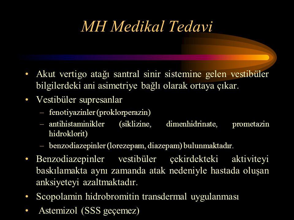MH Medikal Tedavi Akut vertigo atağı santral sinir sistemine gelen vestibüler bilgilerdeki ani asimetriye bağlı olarak ortaya çıkar.