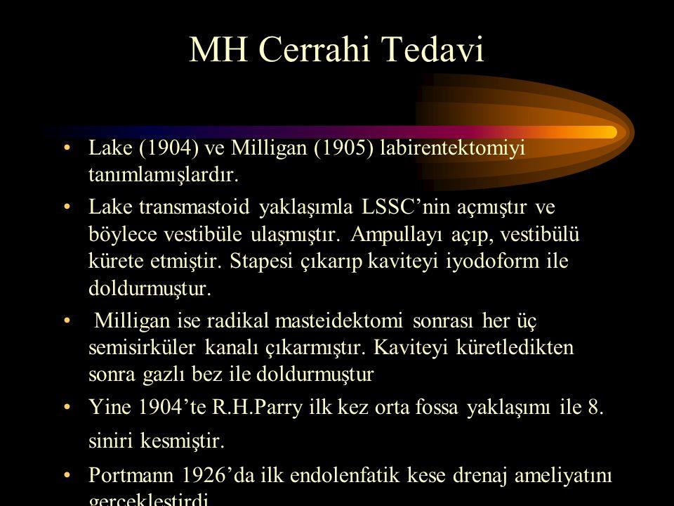 MH Cerrahi Tedavi Lake (1904) ve Milligan (1905) labirentektomiyi tanımlamışlardır.