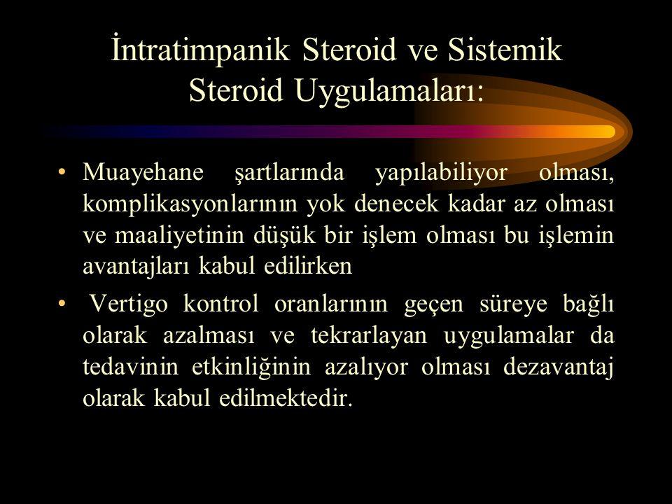 İntratimpanik Steroid ve Sistemik Steroid Uygulamaları: