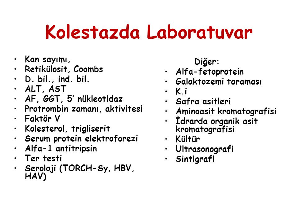 Kolestazda Laboratuvar