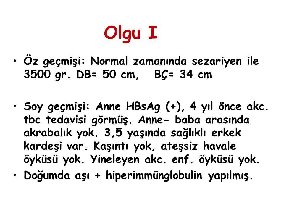 Olgu I Öz geçmişi: Normal zamanında sezariyen ile 3500 gr. DB= 50 cm, BÇ= 34 cm.