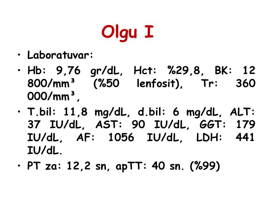 Olgu I Laboratuvar: Hb: 9,76 gr/dL, Hct: %29,8, BK: 12 800/mm³ (%50 lenfosit), Tr: 360 000/mm³,