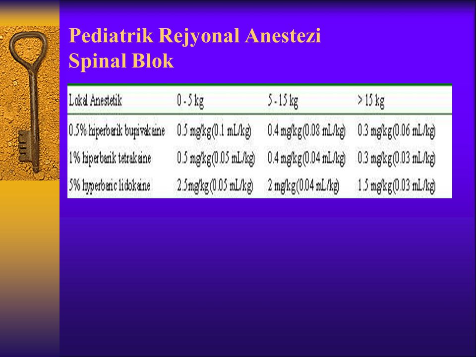 Pediatrik Rejyonal Anestezi Spinal Blok