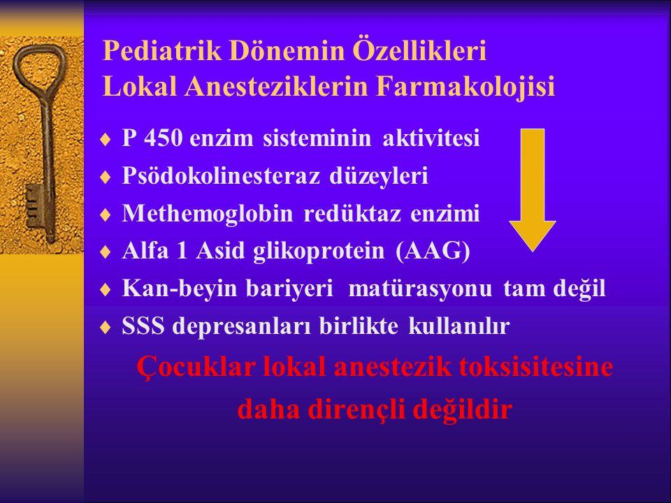 Pediatrik Dönemin Özellikleri Lokal Anesteziklerin Farmakolojisi