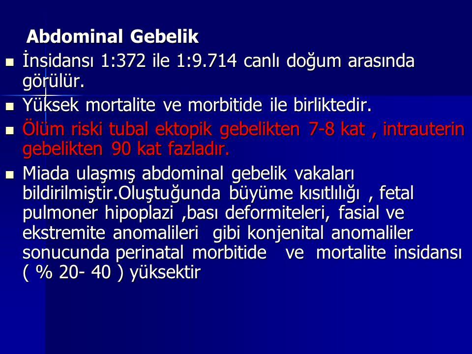 Abdominal Gebelik İnsidansı 1:372 ile 1:9.714 canlı doğum arasında görülür. Yüksek mortalite ve morbitide ile birliktedir.