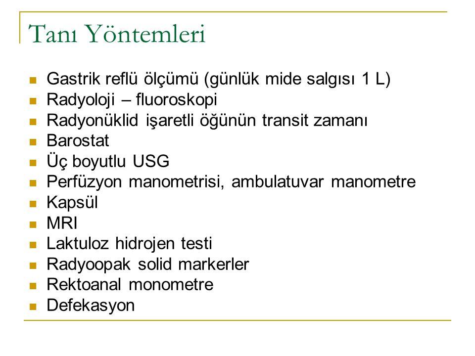Tanı Yöntemleri Gastrik reflü ölçümü (günlük mide salgısı 1 L)