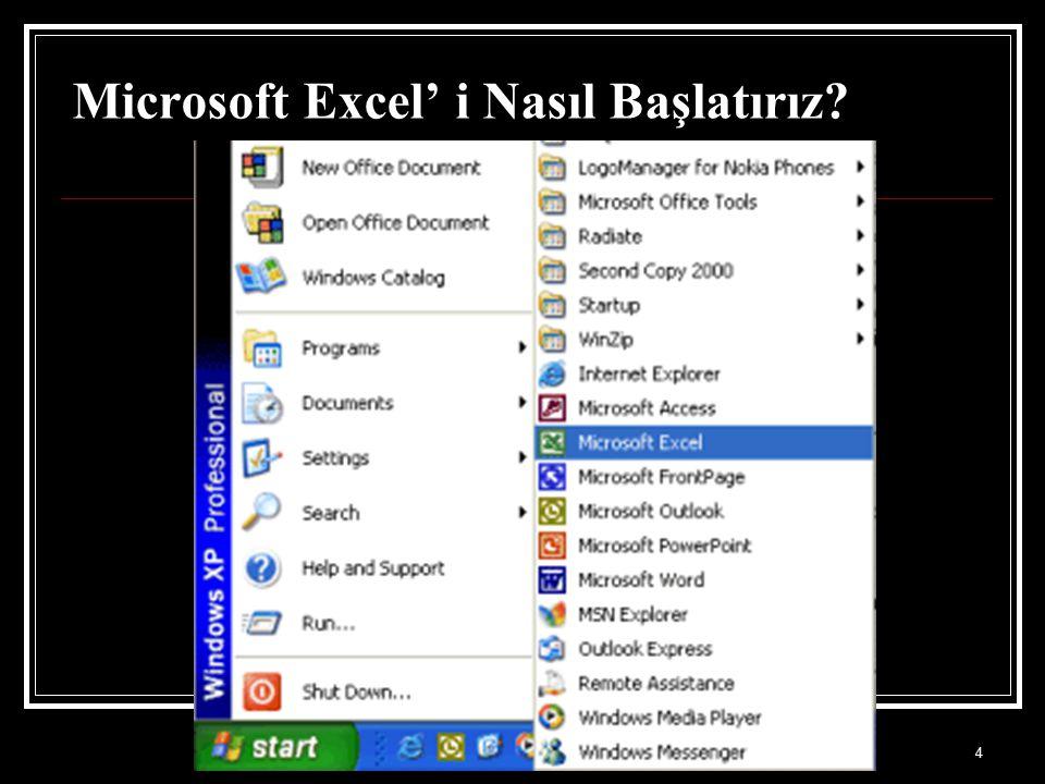 Microsoft Excel' i Nasıl Başlatırız
