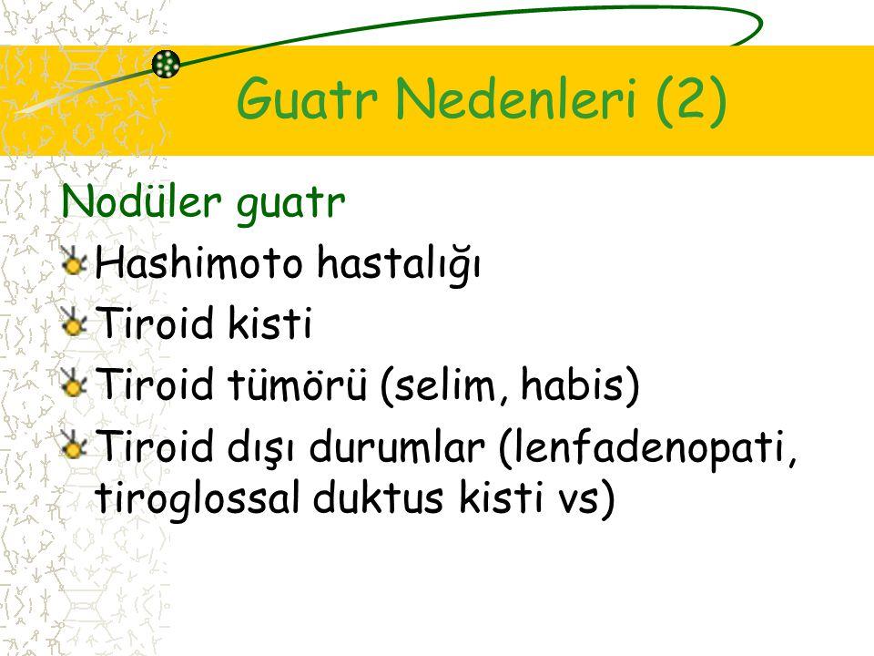Guatr Nedenleri (2) Nodüler guatr Hashimoto hastalığı Tiroid kisti