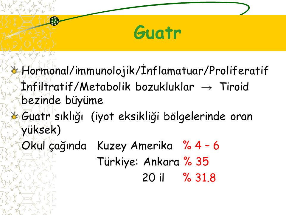 Guatr Hormonal/immunolojik/İnflamatuar/Proliferatif