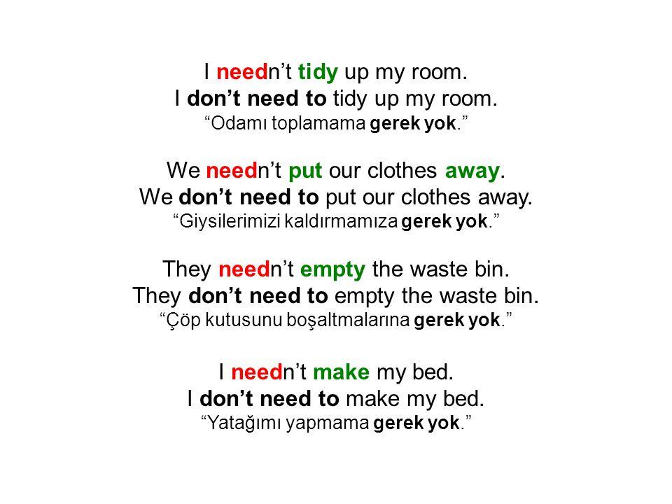 I needn't tidy up my room. I don't need to tidy up my room.