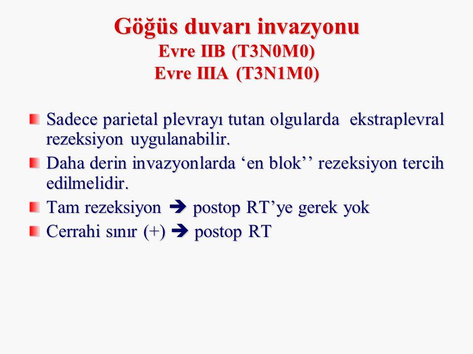 Göğüs duvarı invazyonu Evre IIB (T3N0M0) Evre IIIA (T3N1M0)