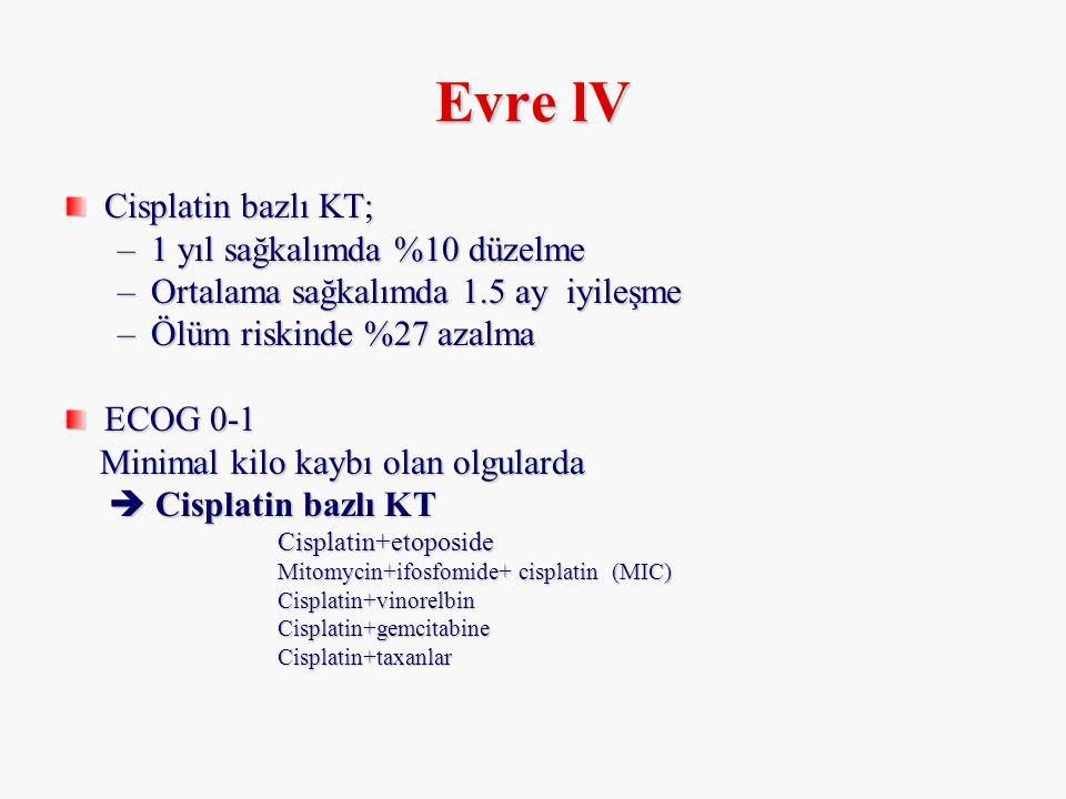 Evre lV Cisplatin bazlı KT; 1 yıl sağkalımda %10 düzelme
