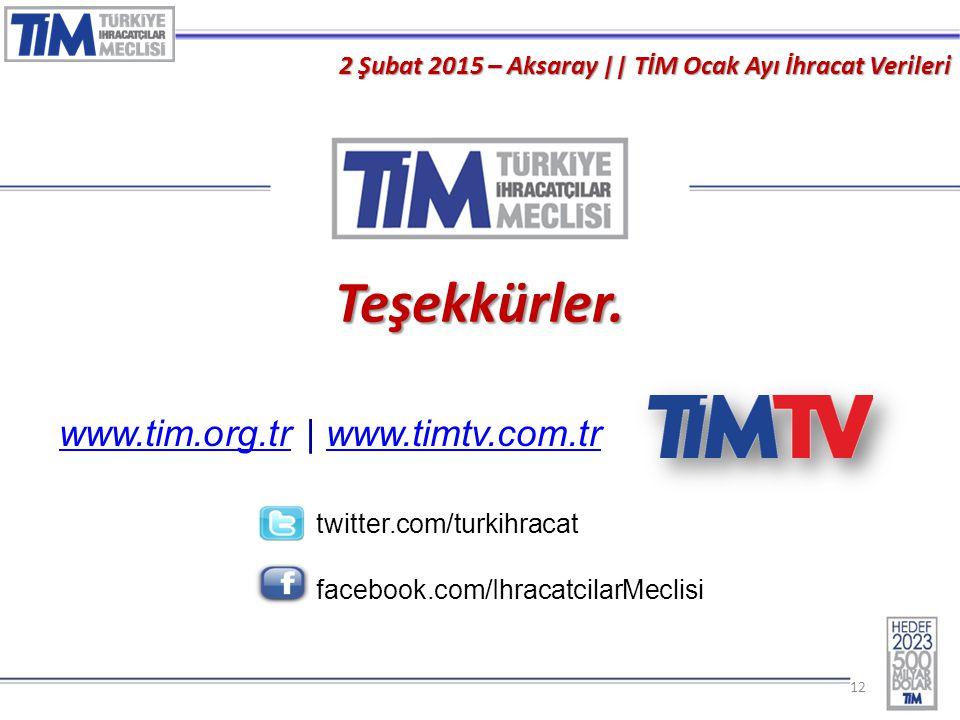 Teşekkürler. www.tim.org.tr | www.timtv.com.tr