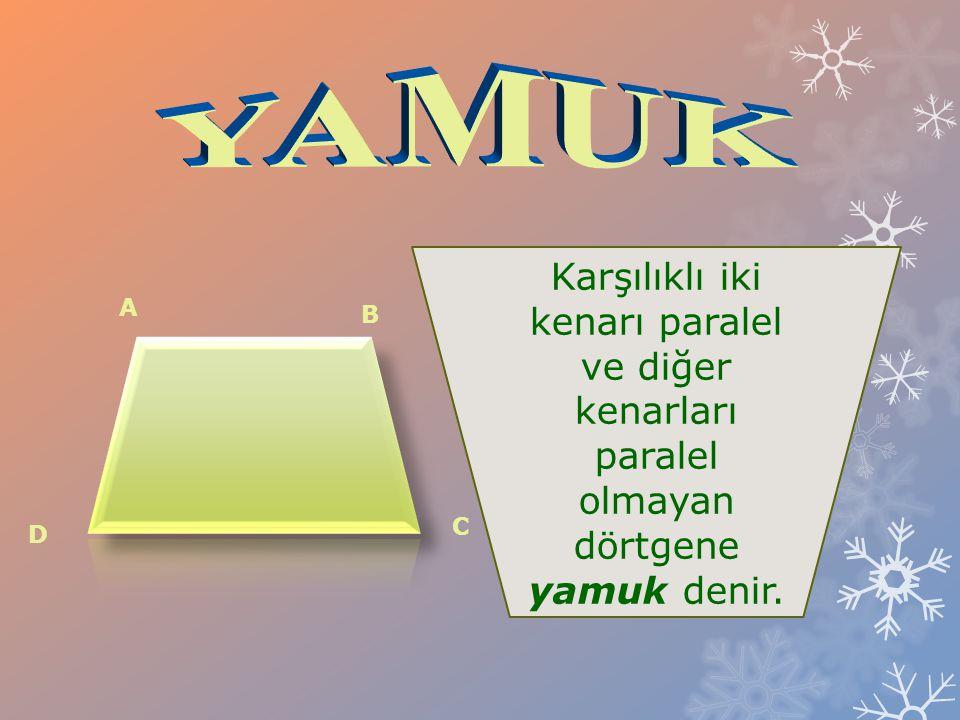 YAMUK Karşılıklı iki kenarı paralel ve diğer kenarları paralel olmayan dörtgene yamuk denir. A. B.
