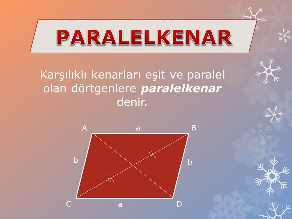 PARALELKENAR Karşılıklı kenarları eşit ve paralel olan dörtgenlere paralelkenar denir. A. a. B. b.