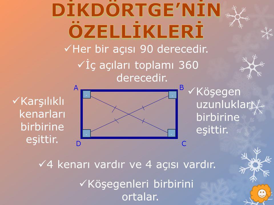 DİKDÖRTGE'NİN ÖZELLİKLERİ