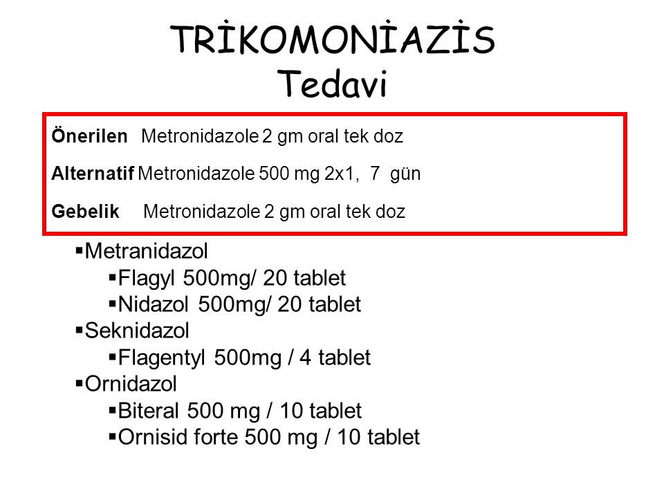 TRİKOMONİAZİS Tedavi Metranidazol Flagyl 500mg/ 20 tablet