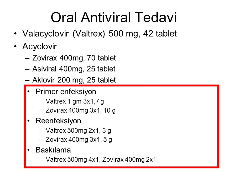 Oral Antiviral Tedavi Valacyclovir (Valtrex) 500 mg, 42 tablet