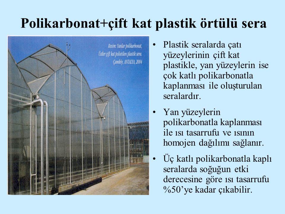 Polikarbonat+çift kat plastik örtülü sera