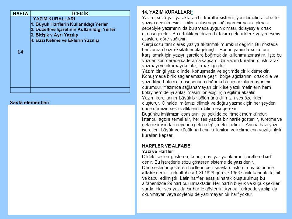 Sayfa elementleri HAFTA İÇERİK 14 YAZIM KURALLARI 14. YAZIM KURALLARI*