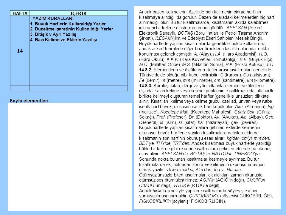 Sayfa elementleri HAFTA İÇERİK 14 YAZIM KURALLARI