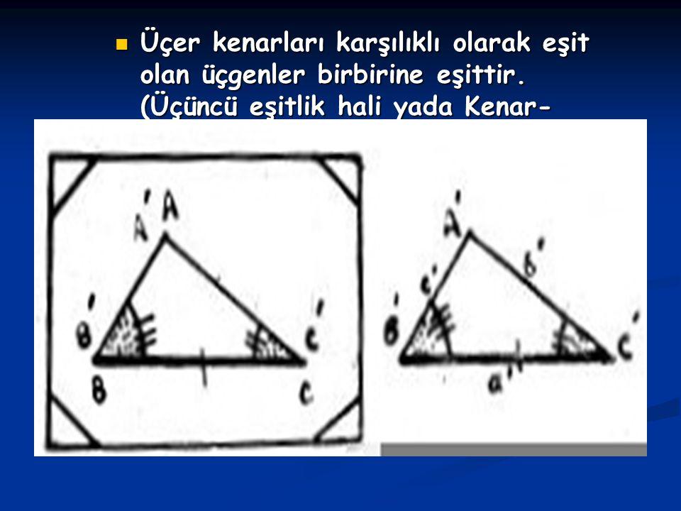 Üçer kenarları karşılıklı olarak eşit olan üçgenler birbirine eşittir