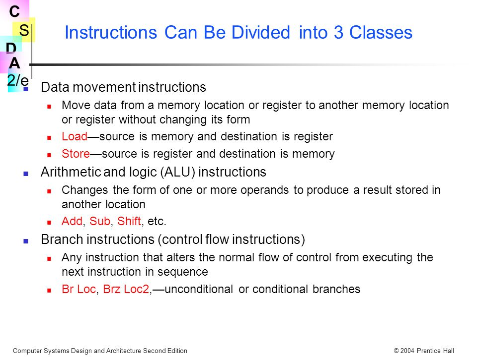 Instructions Can Be Divided into 3 Classes
