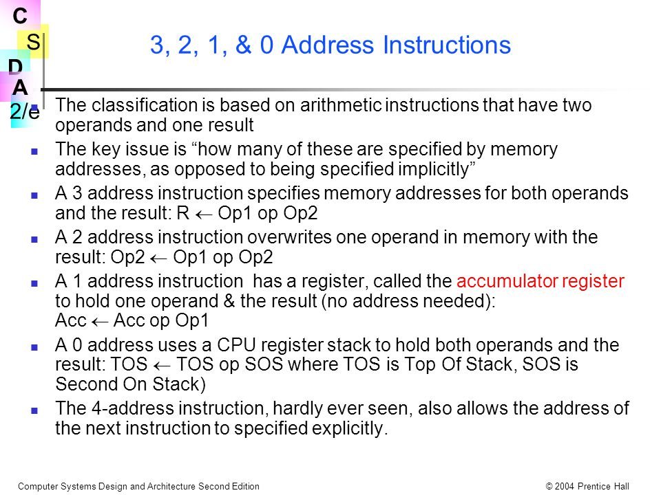 3, 2, 1, & 0 Address Instructions