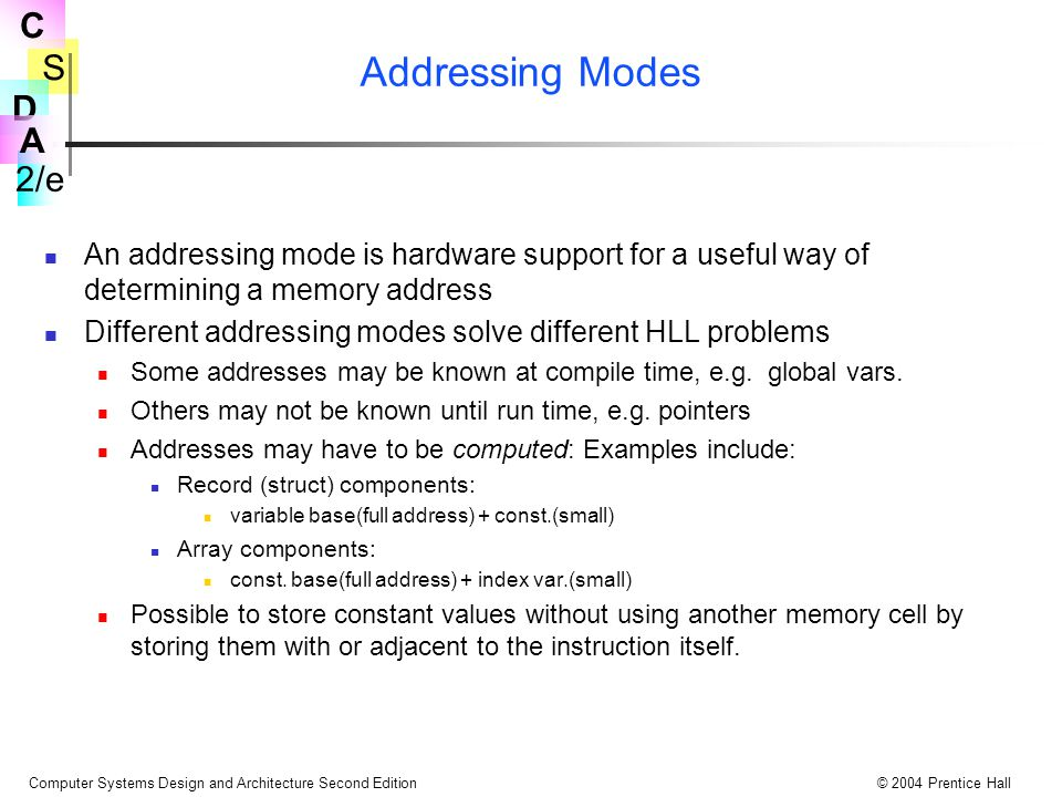 Addressing Modes An addressing mode is hardware support for a useful way of determining a memory address.