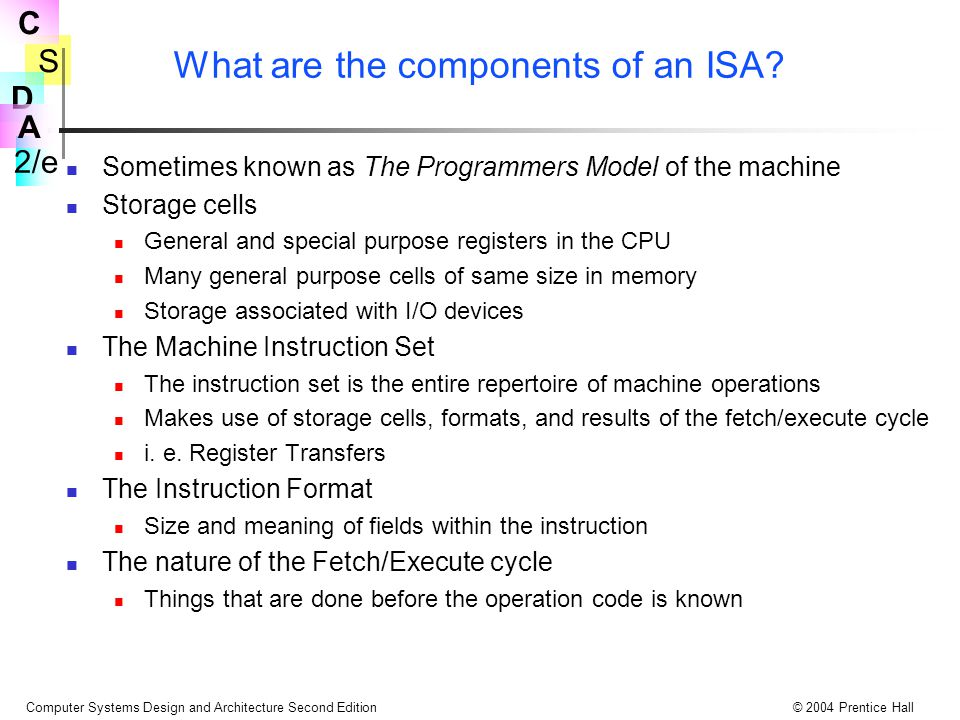 What are the components of an ISA