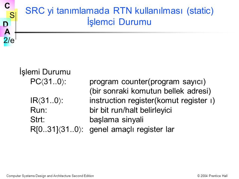 SRC yi tanımlamada RTN kullanılması (static) İşlemci Durumu