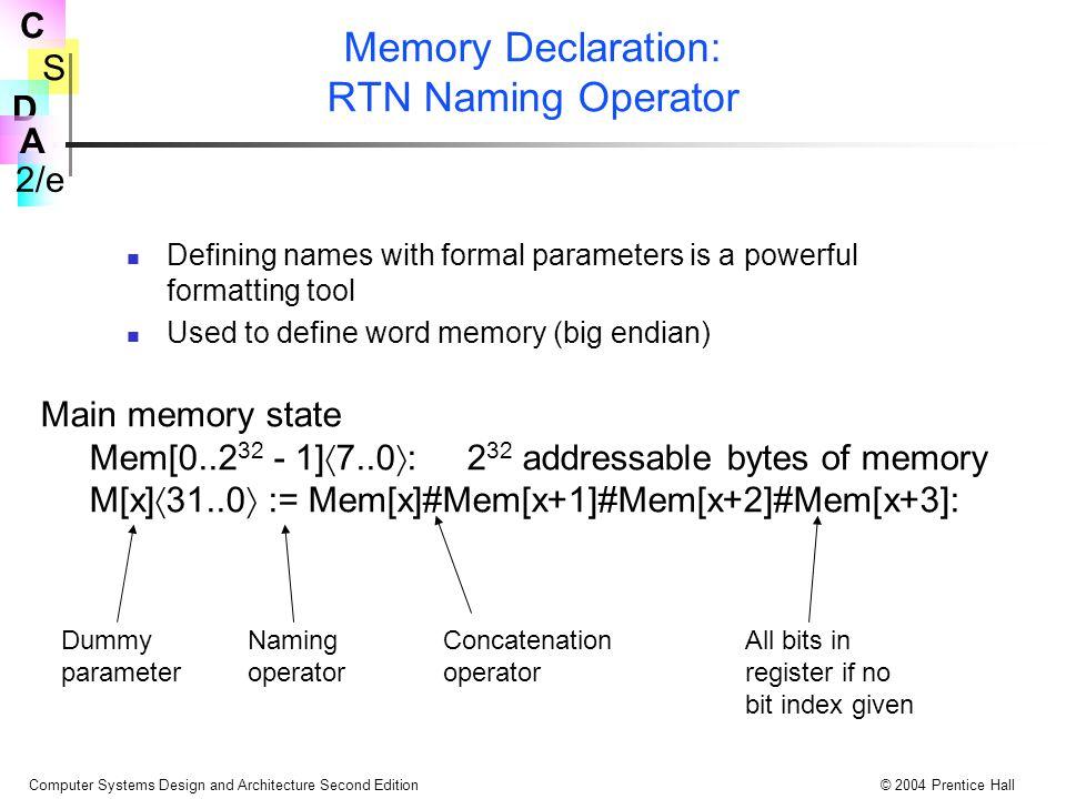Memory Declaration: RTN Naming Operator
