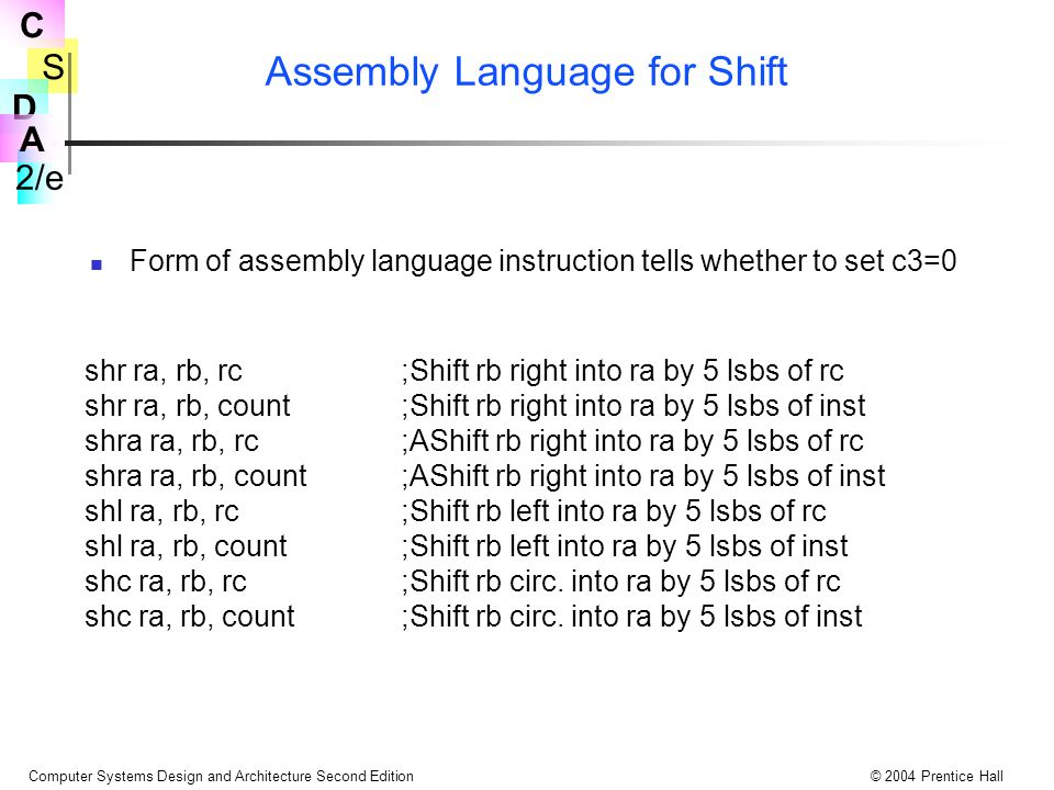 Assembly Language for Shift