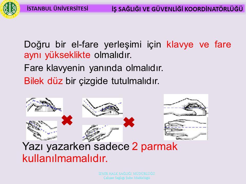 Yazı yazarken sadece 2 parmak kullanılmamalıdır.