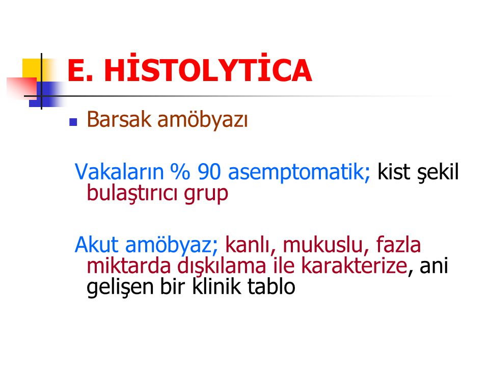 E. HİSTOLYTİCA Barsak amöbyazı
